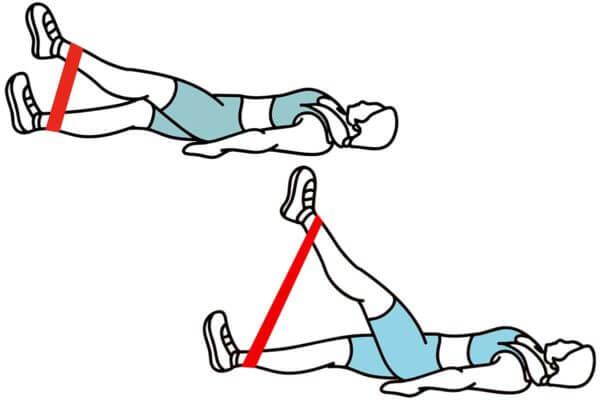 Kojų kilnojimas su guma po 1 koją
